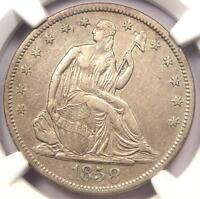 1858 S SEATED LIBERTY HALF DOLLAR 50C   NGC XF DETAILS EF