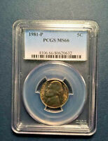 1981 P PCGS MS66  JEFFERSON NICKEL 5C GEM UNCIRCULATED BRIGHT WHITE NICE STEPS