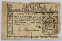 NEW YORK 5 FIVE POUNDS NOTE FEBRUARY 16 1771 COLONIAL CURRENCY