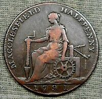 1791 MACCLESFIELD CHESHIRE HALFPENNY CONDOR TOKEN LETTERED EDGE