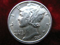1937 P MERCURY SILVER DIME ALMOST UNCIRCULATED NICE COIN UNGRADED.