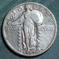 1927P STANDING LIBERTY QUARTER VF 2.99 COMBINED S&H QU32