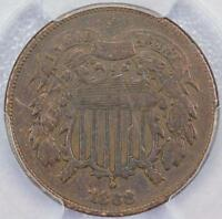 1868 TWO CENT PIECE PCGS F DETAILS CLEANING DOUBLEJCOINS C9