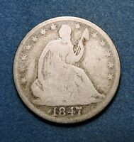 1847 O 50C LIBERTY SEATED HALF DOLLAR GOOD CONDITION SILVER NEW ORLEANS MINT