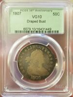 1807 50C DRAPED BUST HALF DOLLAR PCGS VG10 BEAUTIFULLY RAINBOW TONED