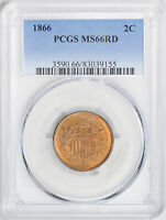 1866 2C PCGS MINT STATE 66 RD