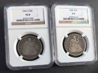 1845 O NGC VG8 AND 1868 NGC G4   SEATED HALF DOLLARS   YOU GET BOTH