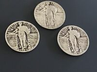 LOT OF 3 1929 STANDING LIBERTY SILVER QUARTERS