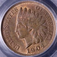 1904 INDIAN HEAD CENT PENNY PCGS MS63 RB 14 7ALT