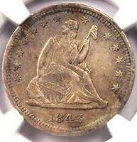 1843 O SEATED LIBERTY QUARTER 25C   NGC AU DETAILS    DATE