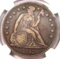 1843 SEATED LIBERTY SILVER DOLLAR $1   NGC VF DETAILS    CERTIFIED COIN