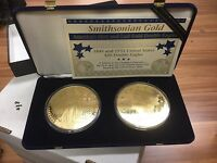 SMITHSONIAN 1849&1933 FIRST&LAST DOUBLE EAGLES SILVER W/24K PLATED TOTAL 32 OZ