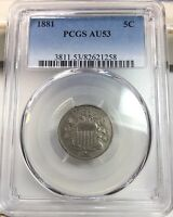 1881 5C SHIELD NICKEL PCGS AU 53  KEY DATE GREAT COIN 68 000 LOW MINTAGE