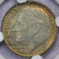 1957 D ROOSEVELT SILVER DIME NGC MS67   RAINBOW TONING   DOUBLEJCOINS   FF8