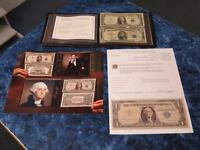 WORLD RESERVE MONETARY EXCHANGE 1935 $1 & 1953 $5 BLUE SEAL SILVER CERTIFICATES