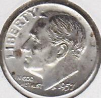 1957 D SILVER ROOSEVELT DIME UNCIRCULATED UNCERTIFIED