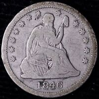 FINE 1846 SEATED LIBERTY QUARTER R2SHN