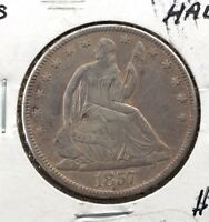 1857 S SEATED LIBERTY HALF DOLLAR    DATE   SEE PICS  MAKE OFFER