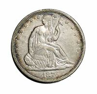 1876 S LIBERTY SEATED HALF DOLLAR ALMOST UNCIRCULATED CONDITION 50C