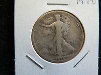 1918 D 50C WALKING LIBERTY HALF DOLLAR   GOOD CIRCULATED COIN   STORE SALE 5945