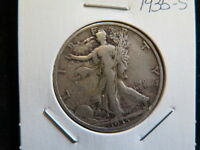 1935 S 50C WALKING LIBERTY HALF DOLLAR VERY GOOD CIRCULATED COIN STORE SALE6025