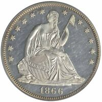 1866 50C LIBERTY SEATED HALF DOLLAR PCGS PR62 MOTTO OLD GREEN HOLDER