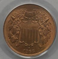1866 2C PCGS MINT STATE 65RB  ORIGINAL COLOR AND CLOSE TO FULL RED