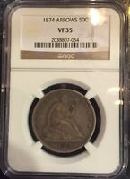 1874 SEATED HALF DOLLAR   W/ARROWS  NGC VF 35 STRICTLY ORIGINAL WHOLESALE
