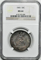 1845 LIBERTY SEATED 50C NGC MS 64