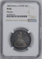 1840 LIBERTY SEATED 50C NGC PR 65