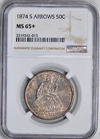 1874 S LIBERTY SEATED 50C NGC MS 65