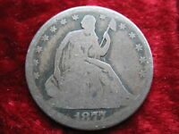1877 P SEATED LIBERTY SILVER HALF DOLLAR HISTORIC ORIGINAL BEAUTY