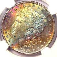 1879-S TONED MORGAN SILVER DOLLAR $1 - NGC MINT STATE 63 STAR GRADE - RAINBOW TONING