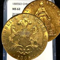 1885 CHILE 10 PESOS GOLD NGC MS62 HIGHEST GRADE EVER LOW MINTAGE        Q22