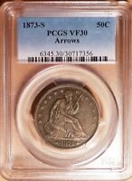 1873 S PCGS VF30   SEATED HALF DOLLAR 50C   BEAUTIFUL TYPE COIN  CLOSE TO XF