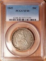 1845 PCGS XF40   SEATED HALF DOLLAR 50C   NICE SILVER TYPE COIN