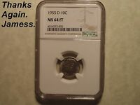 101 NGC MS 64 FT 1955 D ROOSEVELT DIME