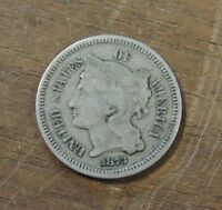 1873 3 CENT NICKEL COIN F/VF OLD AND ORIGINAL E