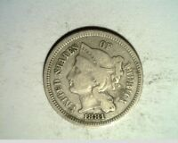 1881 US 3 CENT NICKEL  CIRCULATED COPPER/NICKEL US 6329