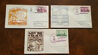 NAVY DAY 1939 / 1940 CACHET LOT OF NAVAL COVERS WWII SUBMARINE PORTSMOUTH NH
