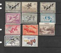 FEDERAL DUCK STAMPS, 11 SIGNED US FEDERAL DUCK STAMPS,  LOT B30