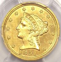 1851 LIBERTY GOLD QUARTER EAGLE $2.50   PCGS UNCIRCULATED    MS UNC COIN