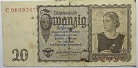 GERMANY BANKNOTE 1939 3RD REICH 20 MARK PARTY EAGLE SYMBOL & SWASTIKA   2088A