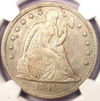 1849 SEATED LIBERTY SILVER DOLLAR $1   NGC AU DETAILS    EARLY DATE COIN
