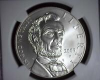 2009 P LINCOLN BICENTENNIAL SILVER COMMEMORATIVE $1 NGC MS 69