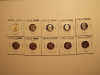 JEFFERSON NICKEL PROOF SET,1980,1981,1982,1983,1984,1985,1986,1987,1988,1989.