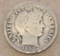 1902 O BARBER DIME   G   90 SILVER   NEW ORLEANS MINT