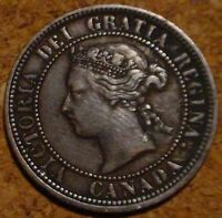 VERY NICE GRADE 1876 H LARGE CENT CANADANICE DETAILED COIN