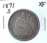 1871 S SEATED LIBERTY HALF DOLLAR   NICE XF  BEAUTIFULLY ORIGINAL   MAKE OFFER