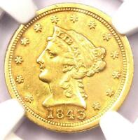 1843 C LIBERTY GOLD QUARTER EAGLE $2.50   NGC XF DETAILS    CHARLOTTE COIN